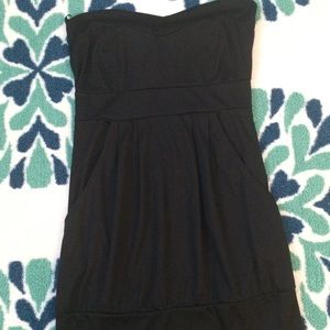 Charlotte Russe black strapless dress with pockets
